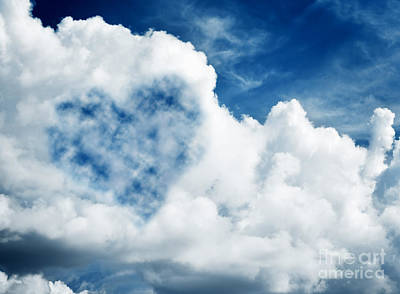 Texture Photograph - Heart Shaped Cloud On Blue Sunny Sky. by Michal Bednarek