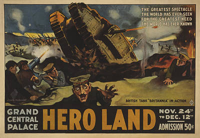 Lithographs Photograph - Hero Land Poster by Underwood Archives
