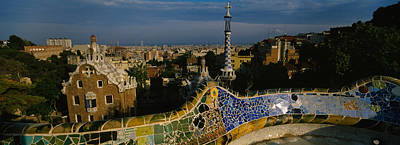 Mosaic Photograph - High Angle View Of A City, Parc Guell by Panoramic Images