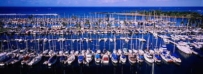 In A Row Photograph - High Angle View Of Boats In A Row, Ala by Panoramic Images