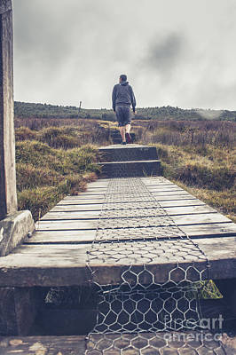 Hiker On The Overland Track In Cradle Mountain Print by Jorgo Photography - Wall Art Gallery