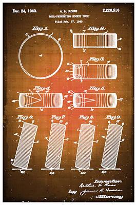 Hockey Puck Patent Blueprint Drawing Sepia Original by Tony Rubino