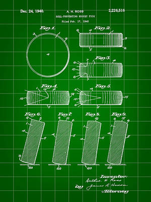 Hockey Puck Patent 1940 - Green Print by Stephen Younts