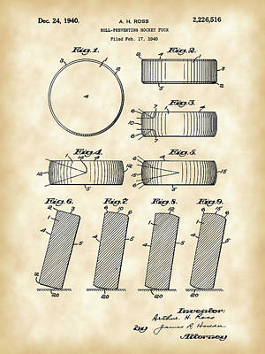 Hockey Puck Patent 1940 - Vintage Print by Stephen Younts