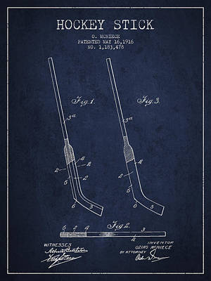 Hockey Games Drawing - Hockey Stick Patent Drawing From 1916 by Aged Pixel