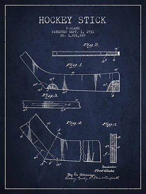 Hockey Games Drawing - Hockey Stick Patent Drawing From 1931 by Aged Pixel