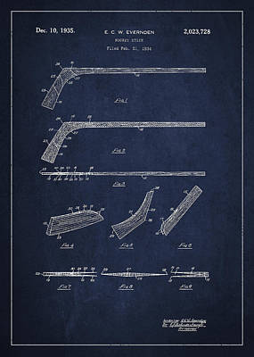 Hockey Games Drawing - Hockey Stick Patent Drawing From 1934 by Aged Pixel