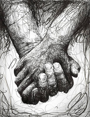 Hands Drawing - Holding Hands by Michael  Volpicelli