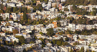 Homes Of San Francisco Print by B Christopher
