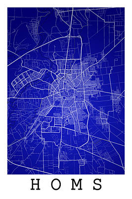 City Digital Art - Homs Street Map - Homs Syria Road Map Art On Color by Jurq Studio