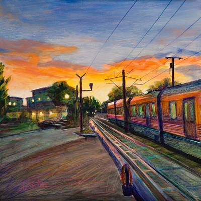 Railroad Painting - Hope Crossing by Athena Mantle