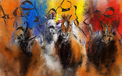 Horse Painting - Horse Racing Abstract  by Lourry Legarde