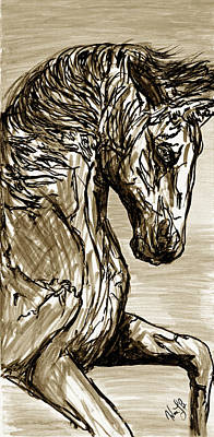 Ink Drawing - Horse Twins I by William L Buckingham by Erich Grant