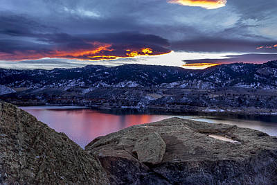 Horsetooth At Sunset Print by Bob Younger