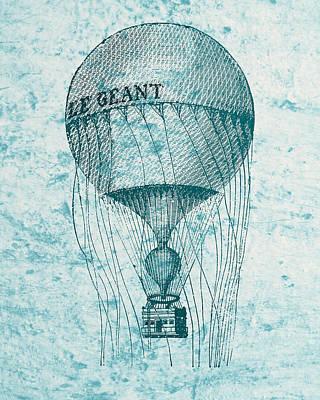 Hot Air Balloon - Retro Design Print by World Art Prints And Designs