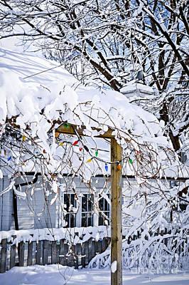 Snowstorm Photograph - House Under Snow by Elena Elisseeva