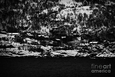 Houses On The Outskirts Of Oksfjord During Winter Norway Europe Print by Joe Fox
