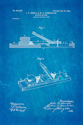 Howell And Chamberlain French-fry Potato Cutter Patent Art 1900 Blueprint Print by Ian Monk