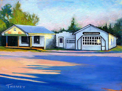 Gas Station Painting - Huckstep's Garage Free Union Virginia by Catherine Twomey