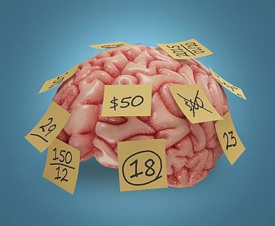 Human Brain With Sticky Notes Print by Ktsdesign