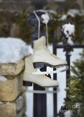 Ice Skates On An Iron Gate Print by Jill Battaglia
