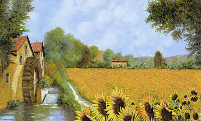 Sunflower Field Painting - Il Mulino E I Girasoli by Guido Borelli