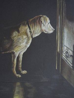 Dog At Door Painting - I'll Be Waiting. by Mary Jo Jung