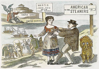American Eagle Painting - Immigration Cartoon, C1855 by Granger