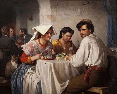 Carl Bloch Painting - In A Roman Osteria by Celestial Images