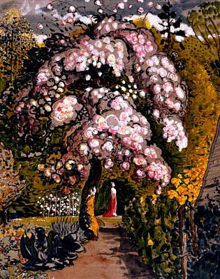 Tree Blossoms Drawing - In A Shoreham Garden by Samuel Palmer