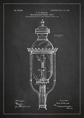 Oil Lamp Digital Art - Incandescent Street Light Patent Drawing From 1904 by Aged Pixel