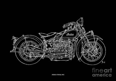 Bike Drawing - Indian Four 1932 by Pablo Franchi