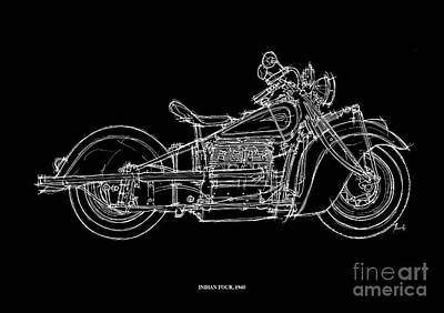Regalo Drawing - Indian Four 1940 by Pablo Franchi