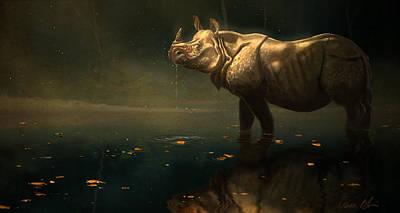 Rhino Digital Art - Indian Rhino by Aaron Blaise