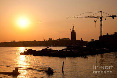 Carrier Photograph - Industrial Harbor At Sunset And A Crane by Michal Bednarek