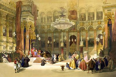 Inside The Church Of The Holy Sepulchre Print by Munir Alawi