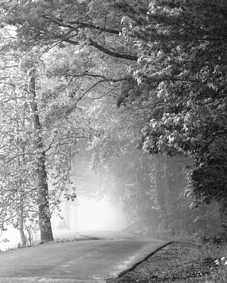 Black And White Rural Photograph - Into The Fog by Andrew Soundarajan