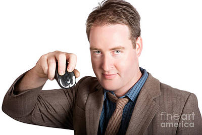 Hardware Photograph - Isolated Business Man Holding Computer Mouse by Jorgo Photography - Wall Art Gallery