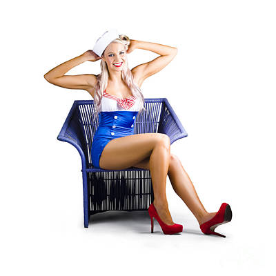 Isolated Navy Pinup Girl On White Background Print by Jorgo Photography - Wall Art Gallery