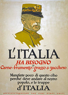Us Propaganda Drawing - Italy Has Need Of Meat Wheat Fat And Sugar by George Illian