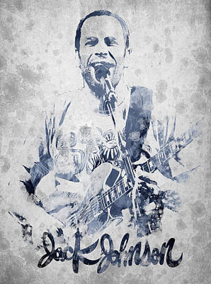 Ukulele Digital Art - Jack Johnson Portrait by Aged Pixel