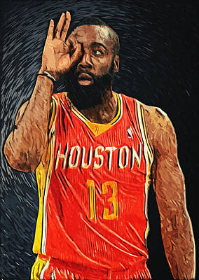 James Harden Print by Taylan Apukovska