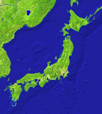 Japan Relief Photograph - Japan Topography by Science Photo Library
