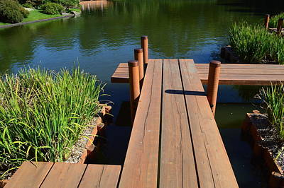 Base Path Photograph - Japanese Garden Bridge by Curtis Krusie