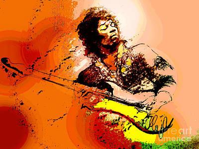 Led Zeppelin Drawing - Jimi Hendrix by Maja Sokolowska