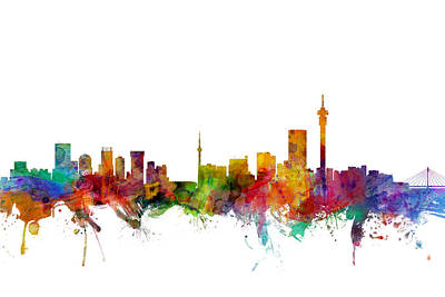 South Africa Digital Art - Johannesburg South Africa Skyline by Michael Tompsett