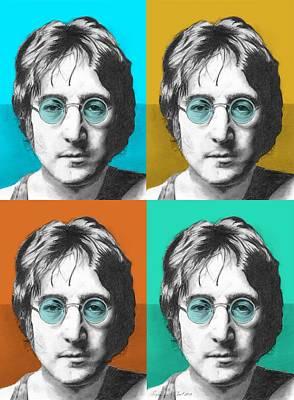 John Lennon Drawing - John Lennon - 4up One Print by Alexander Gilbert