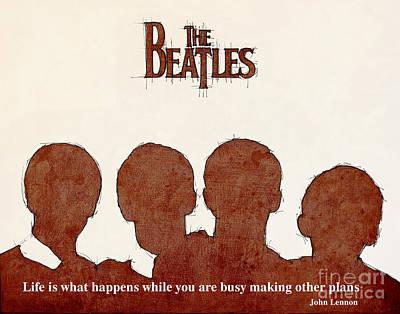 Beatles Mixed Media - John Lennon Quote - The Beatles by Pablo Franchi