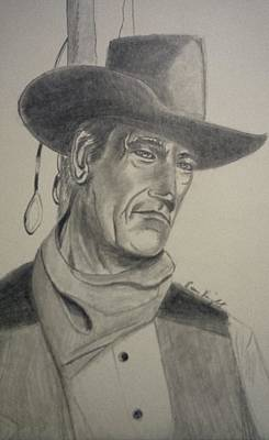 John Wayne Drawing - John Wayne by Evan KNIGHT