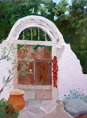 Southwest Gate Painting - Josefina's Gate by Susan Woodward